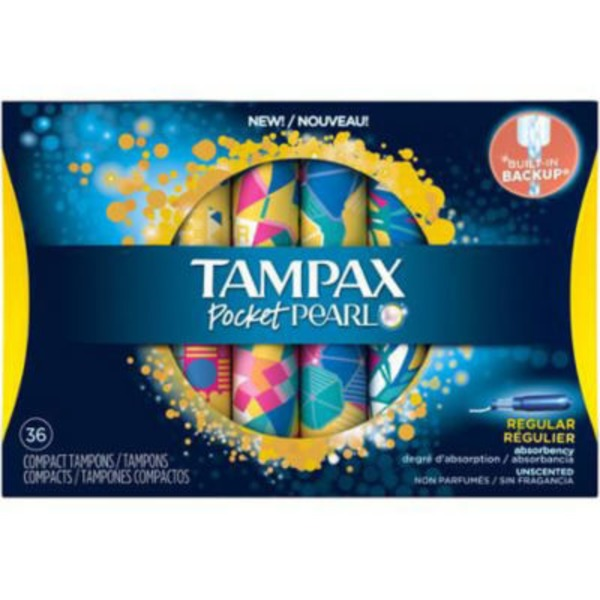 Tampax Pearl Pocket Tampax Pocket Pearl Compact Plastic Tampons, Regular Absorbency, Unscented 36 Count Feminine Care