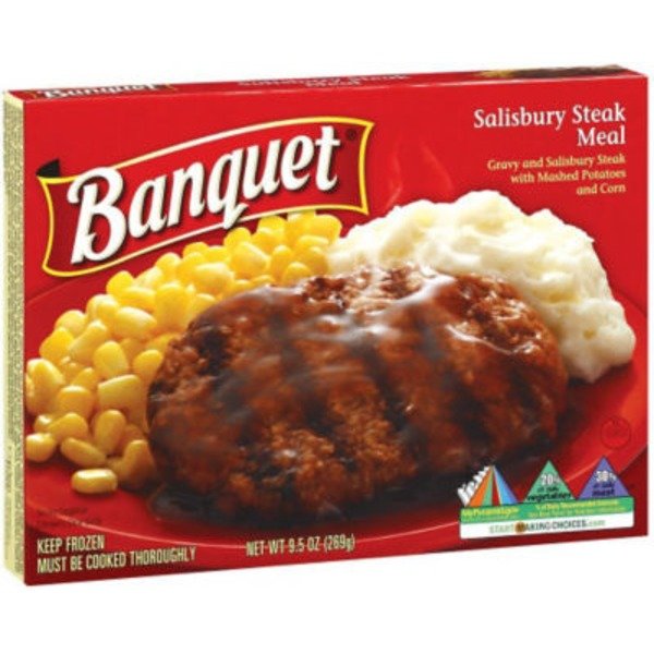 Banquet Salisbury Steak Meal  with Gravy, Mashed Potatoes & Corn