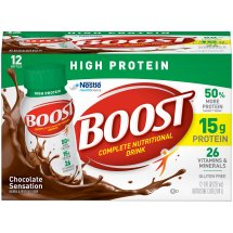 BOOST HIGH PROTEIN Complete Nutritional Drink, Chocolate Sensation, 8 fl oz Bottle, 12 Pack