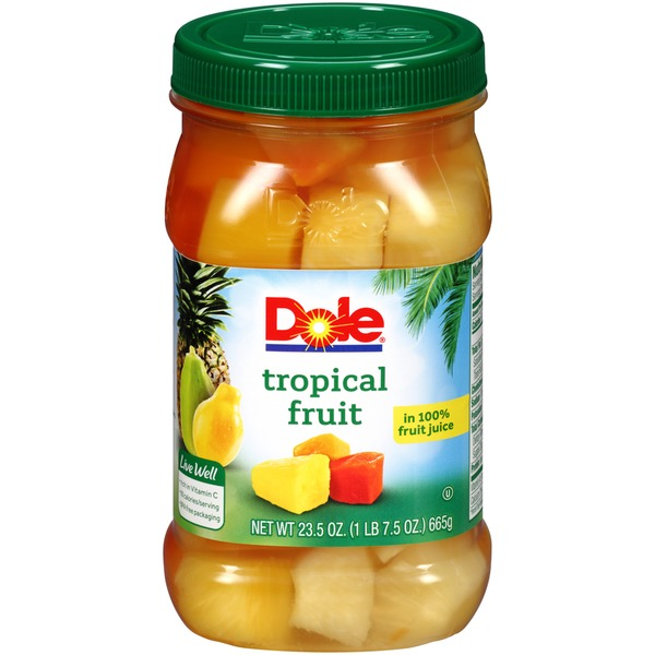 Dole Plastic Jars In 100% Fruit Juice Tropical Fruit