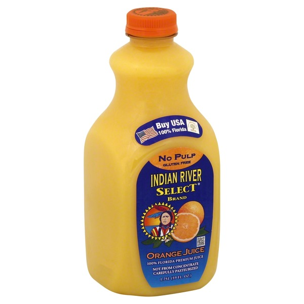 Indian River Select 100% Juice, Orange, No Pulp