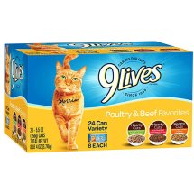 9Lives Poultry and Beef Favorites Wet Cat Food Variety Pack, 5.5-Ounce Cans (Pack of 24)