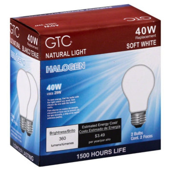GTC 40 Watt Halogen Soft White Light Bulbs