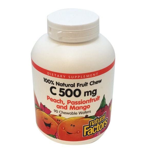 Natural Factors Vitamin C, 500 mg, Chewable Wafers, Peach, Passionfruit and Mango Flavor