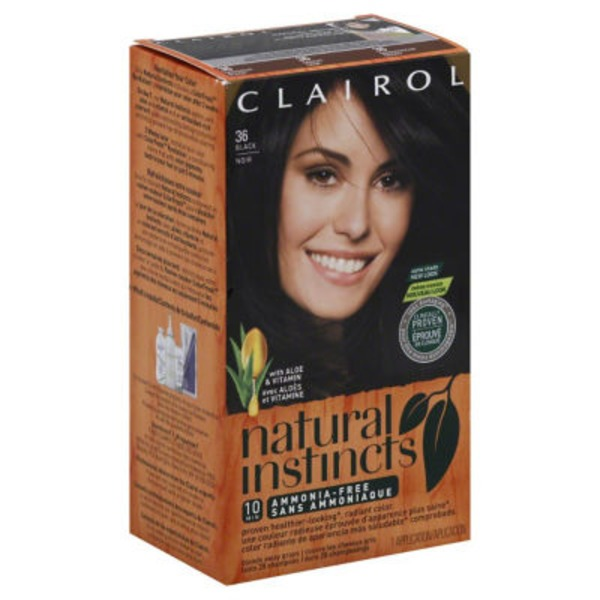 Clairol Natural Instincts, 2 / 36 Midnight Black, Semi-Permanent Hair Color, 1 Kit Female Hair Color