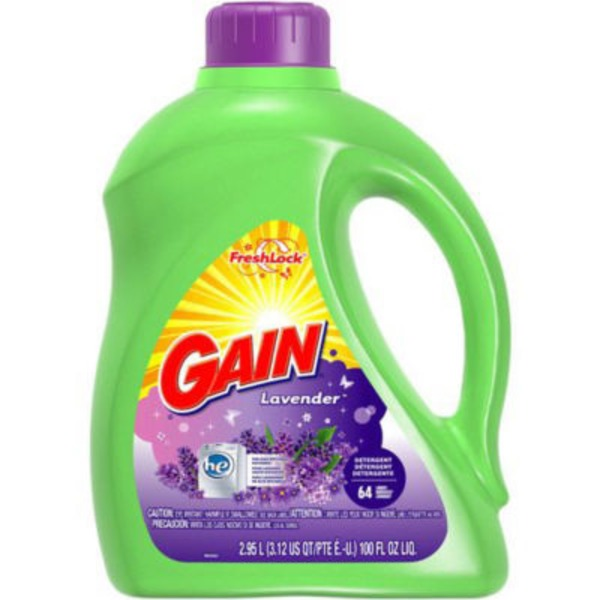 Gain Liquid Laundry Detergent, Lavender Scent, 64 loads, 100 fl oz Laundry