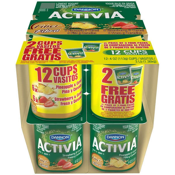 Activia Fiber Fiber Strawberry/Pineapple Lowfat Probiotic Yogurt