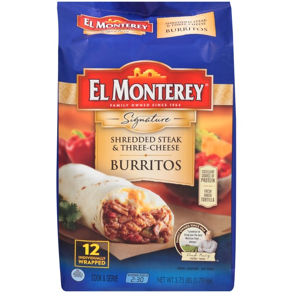 El Monterey Signature Shredded Steak & Three–Cheese Burritos