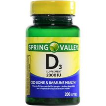 Spring Valley D3 Supplement Softgels, 2000 IU, 200 Ct