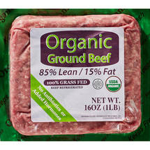 85% Lean/15% Fat Organic Grass Fed Ground Beef