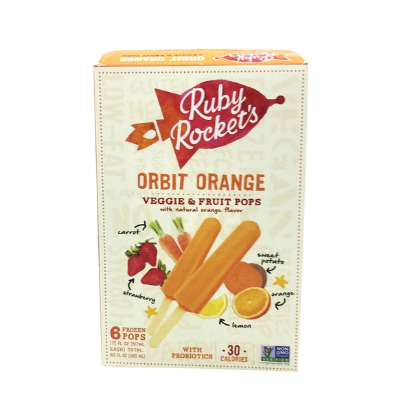 Ruby's Rockets Frozen Fruit & Vegetable Pops, Orbit Orange