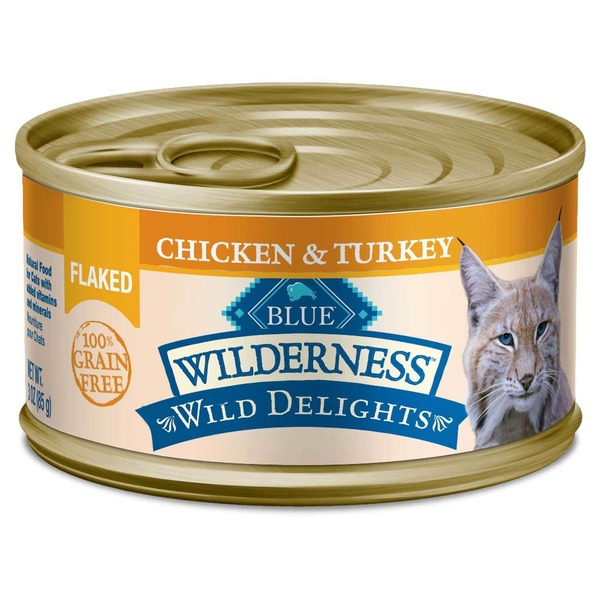 Blue Buffalo Cat Food, Moist, Chicken & Turkey, Flaked, Wilderness, Can