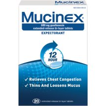 Mucinex 12-Hour Chest Congestion Expectorant Tablets, 20 Ct