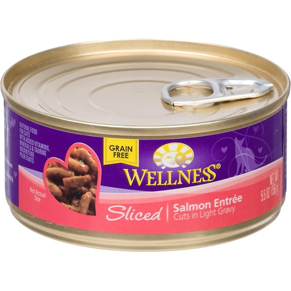 Wellness Grain Free Sliced Salmon Entree Cuts In Light Gravy Canned Cat Food