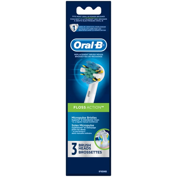 Oral-B Triumph Oral-B Floss Action Replacement Electric Toothbrush Head 3 Count Power Oral Care