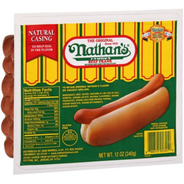 Nathan's The Original Coney Island Natural Casing Beef Frankfurters