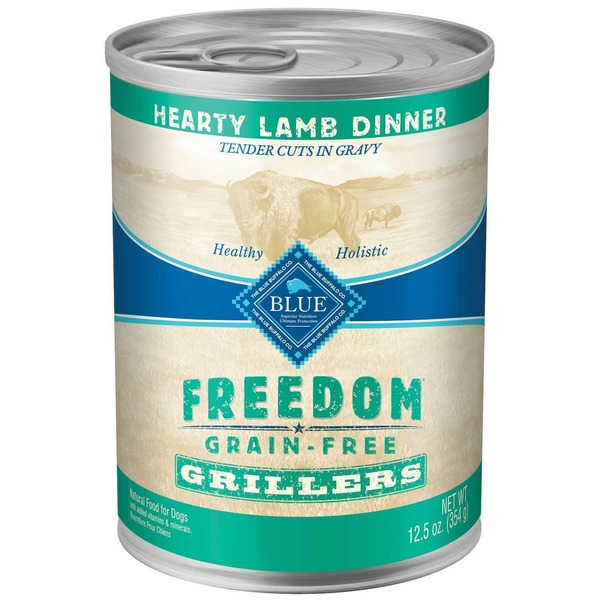 Blue Buffalo Dog Food, Moist, Freedom, Grillers, Hearty Lamb Dinner, Can
