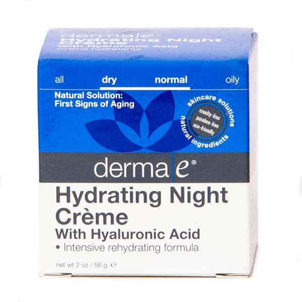 Derma E Hydrating Night Creme, with Hyaluronic Acid, Dry/Normal