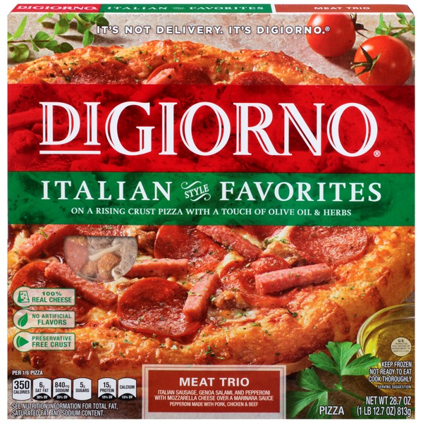 DiGiorno Italian Style Favorites Meat Trio (Italian Sausage, Genoa Salami, and Pepperoni with Mozzarella Cheese over a Marinara Sauce) Pizza