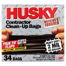 Husky Heavy Duty Contractor Trash Bags, 42 Gallon, 34 Ct