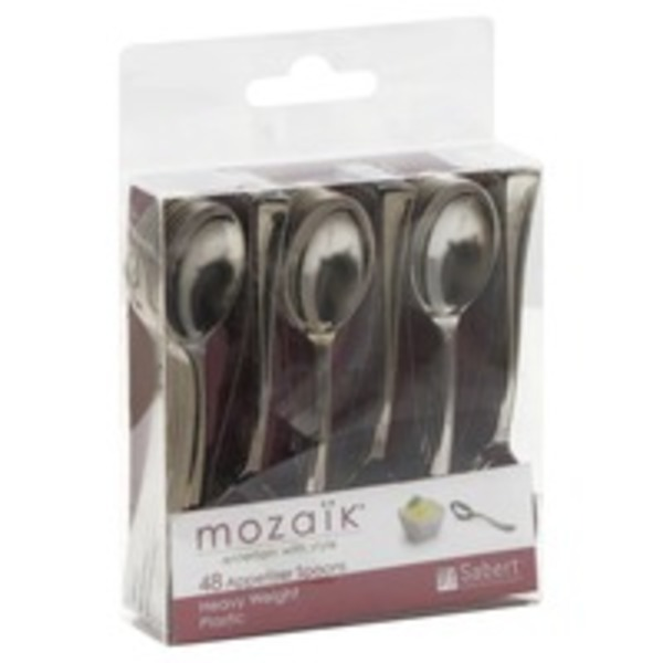 Mozaik Spoons, Appetizer, Heavy Weight Plastic