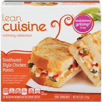 Lean Cuisine Craveables White meat chicken, peppers, tomatoes, onions, cilantro and southwest-style sauce on sourdough bread Southwest-Style Chicken Panini