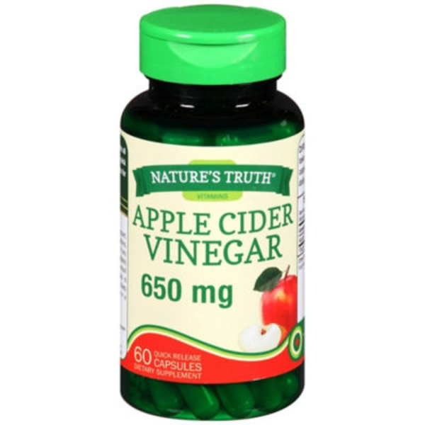 Nature's Truth Organic Apple Cider Vinegar 650mg Quick Release Capsules Dietary Supplement