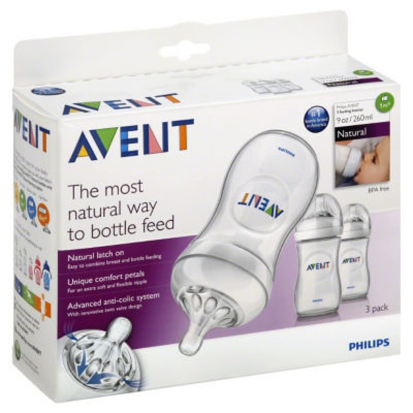 Avent Philips Avent BPA Free Natural 9 Ounce Polypropylene Bottles,