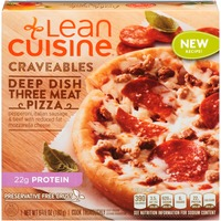 Lean Cuisine Craveables Pepperoni, Italian sausage and beef with reduced fat mozzarella cheese Deep Dish Three Meat Pizza