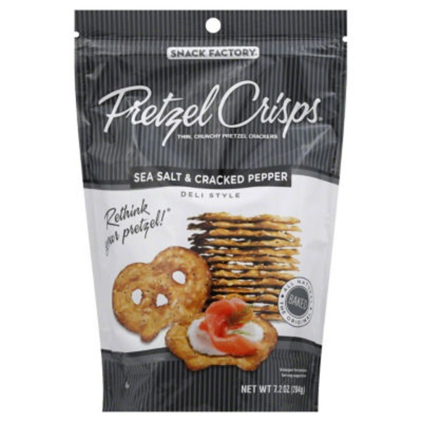 Pretzel Crisps Sea Salt & Cracked Pepper Deli Style Pretzel Crackers