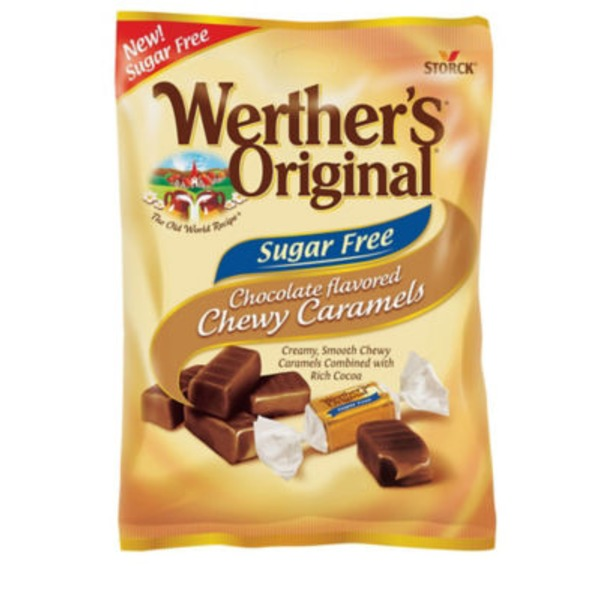 Werther's Caramels, Chewy, Sugar Free, Chocolate Flavored