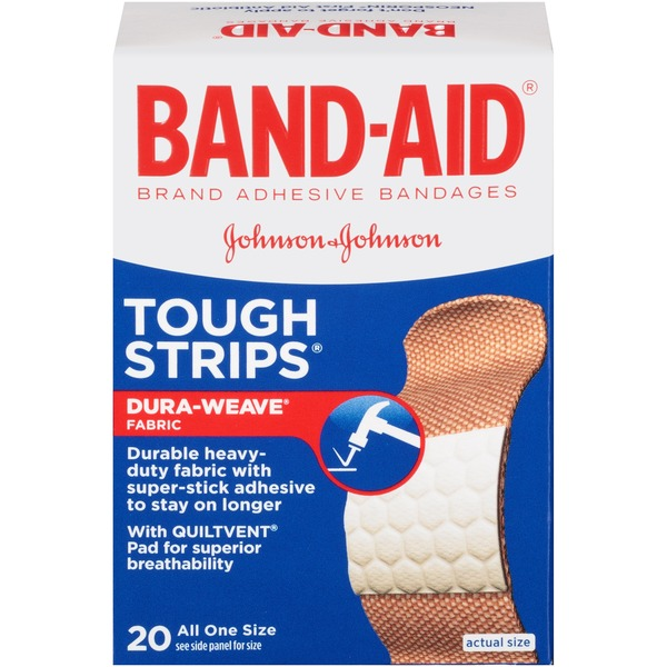 Band-Aid Tough Strips Adhesive Bandages, All One Size