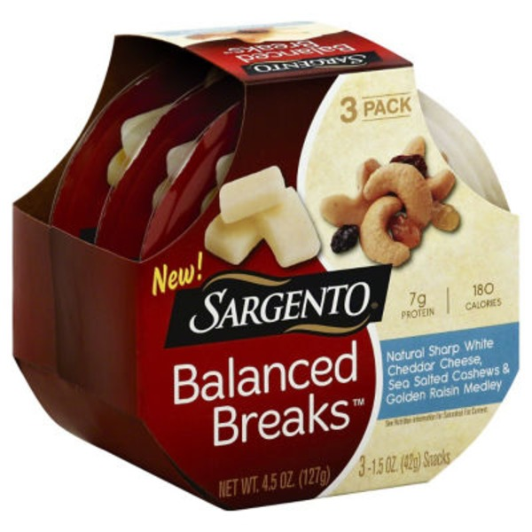 Sargento® Balanced Breaks Natural Sharp White Cheddar Cheese/Cashews/Golden Raisin Medley Snacks