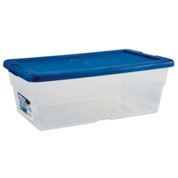Sterilite 6 Qt Storage Box With Blue Lid