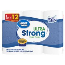 Great Value Paper Towels, Split Sheets, 6 Double Rolls
