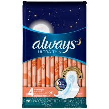 Always Ultra Thin Size 4 Overnight Pads with Wings, Unscented, 28 Count
