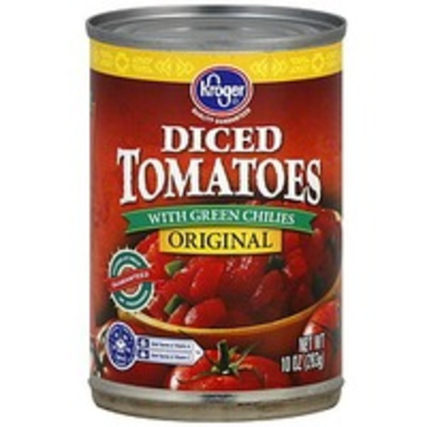 Kroger Tomatoes Diced With Green Chillies Original