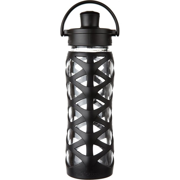 Lifefactory Glass Water Bottle with Active Flip Cap, 22 oz Onyx