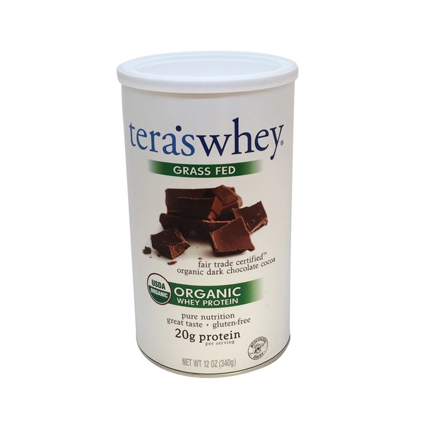 Tera's Whey Grass Fed Fair Trade Certified Organic Dark Chocolate Whey Protein