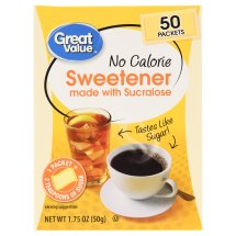 Great Value Sweetener with Sucralose, No Calorie, 1.75 oz, 50 Count