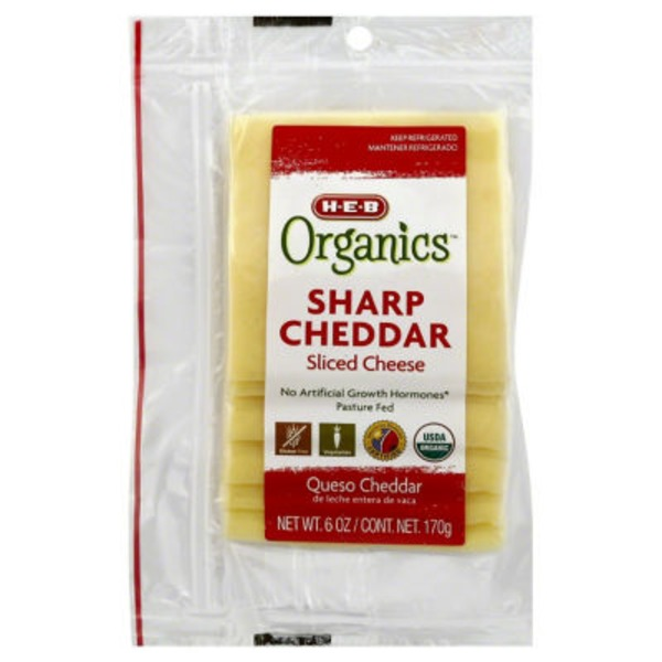 H-E-B Organics Sliced Sharp Cheddar Cheese