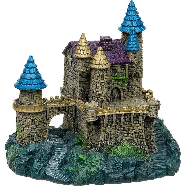Blue Ribbon Pet Products Purple & Blue Roof Castle Aquarium Ornament