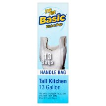 Top Job Basic Tall Kitchen Handle Bags, 13 count