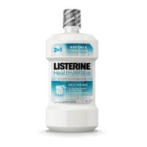 Listerine Healthy White Restoring Fluoride Rinse For Whitening Teeth, Clean Mint, 16 Oz