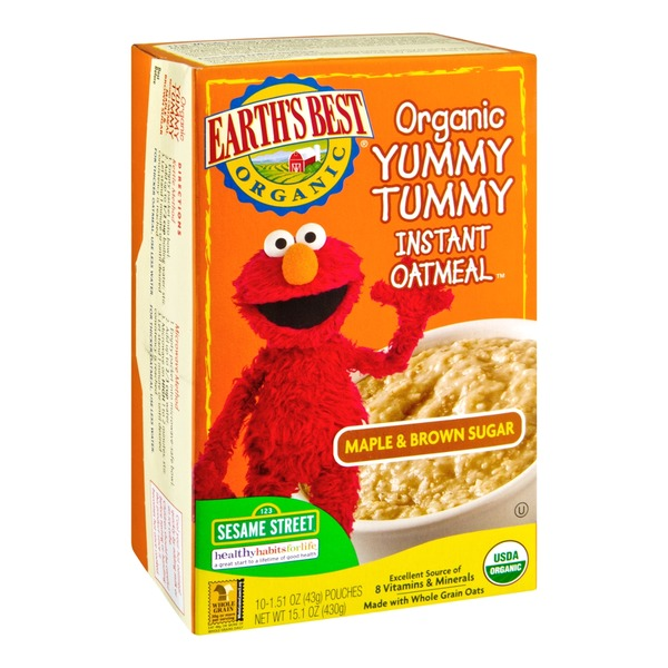 Earth's Best Organic Yummy Tummy Instant Oatmeal Maple & Brown Sugar - 10 CT