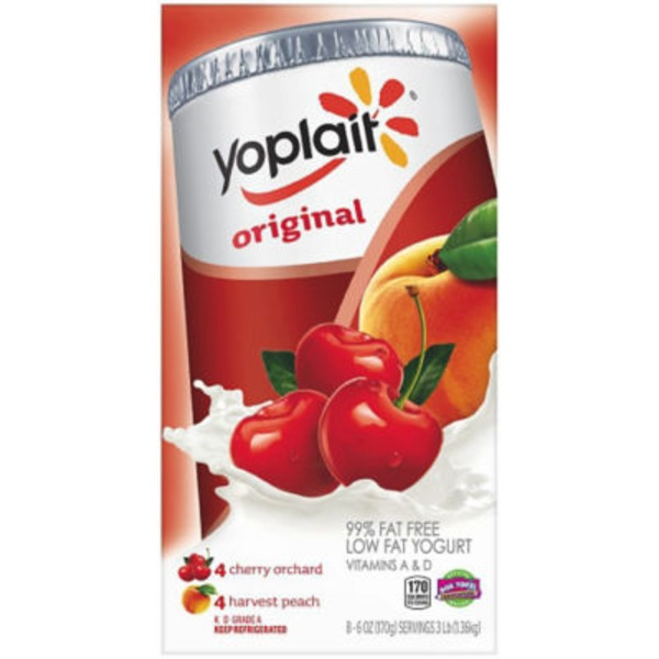 Yoplait Original Cherry Orchard/Harvest Peach Variety Pack Low Fat Yogurt