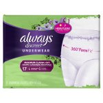 Always Discreet, Incontinence Underwear for Women, Maximum Classic Cut, Large, 17 Count