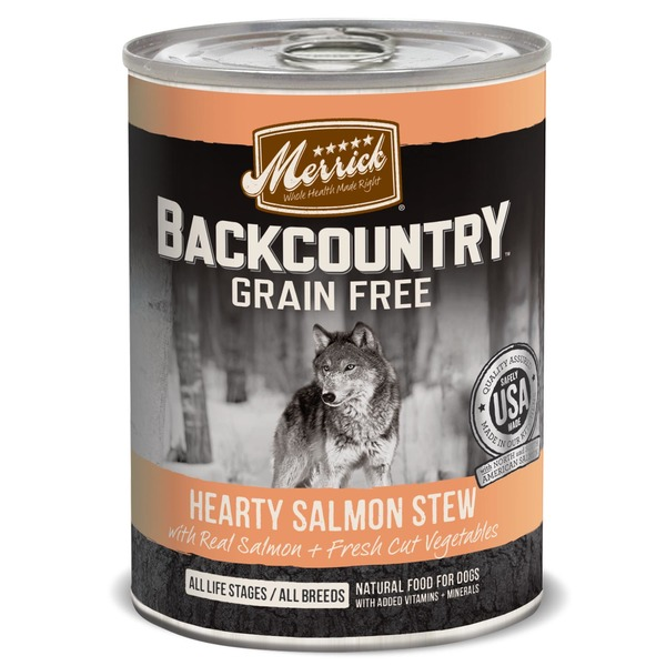 Merrick BackCountry Grain Free Hearty Salmon Stew All Life Stages All Breeds Natural Food For Dogs