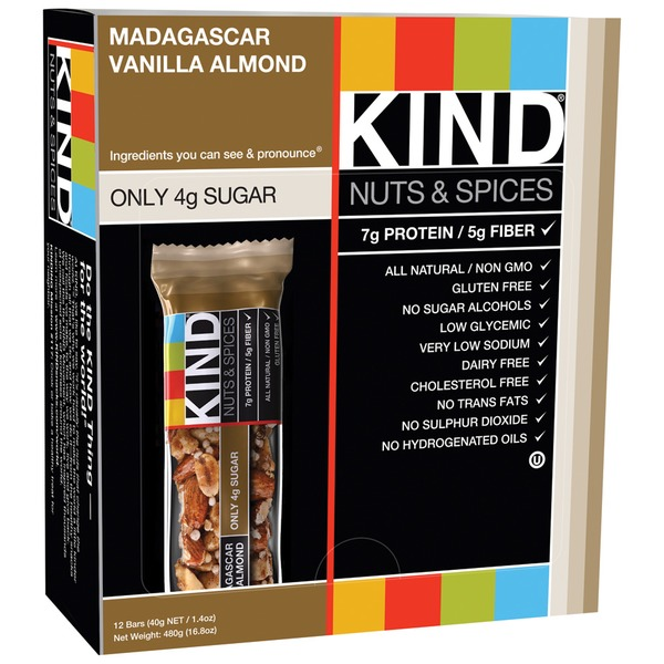 Kind Nuts & Spices Madagascar Vanilla Almond 1.4 OZ Fruit & Nut Bar