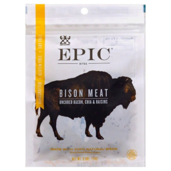 Epic Bison Meat Bites Uncured Bacon, Chia & Raisins